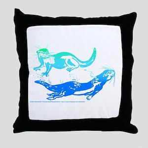 Otters Aquamarine Throw Pillow