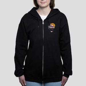 Chibi Hawkeye Stylized Women's Zip Hoodie
