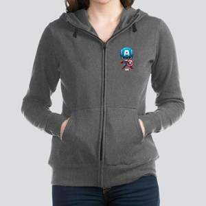 Chibi Captain America Stylized Women's Zip Hoodie
