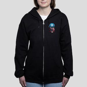 Chibi Captain America Stylized Women's Zip Hoodie