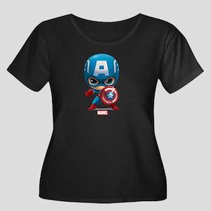 Chibi Ca Women's Plus Size Scoop Neck Dark T-Shirt