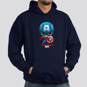 Chibi Captain America Stylized Hoodie (dark)