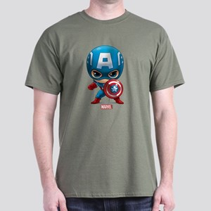 Chibi Captain America Stylized Dark T-Shirt