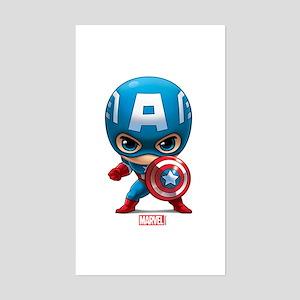 Chibi Captain America Stylized Sticker (Rectangle)