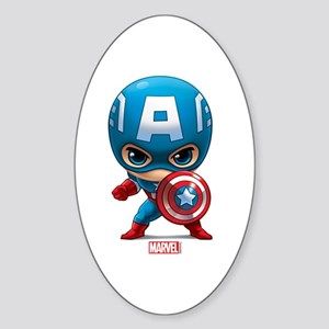 Chibi Captain America Stylized Sticker (Oval)