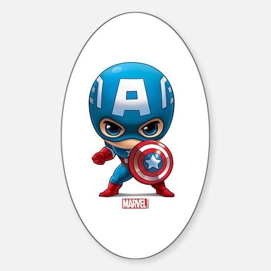Chibi Captain America Stylized Sticker (Oval)
