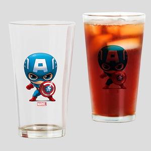 Chibi Captain America Stylized Drinking Glass