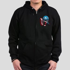 Chibi Captain America Stylized Zip Hoodie (dark)