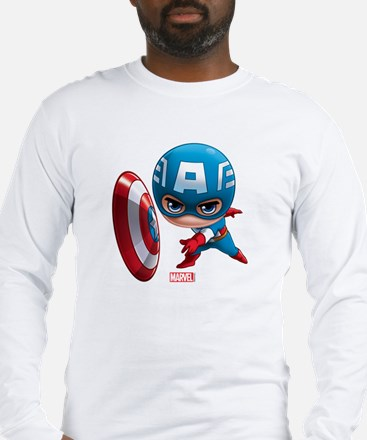 Chibi Captain America Stylized Long Sleeve T-Shirt