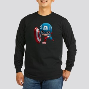 Chibi Captain America Sty Long Sleeve Dark T-Shirt