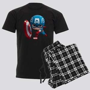 Chibi Captain America Stylized Men's Dark Pajamas