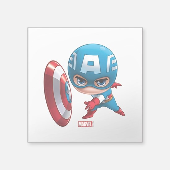 "Chibi Captain America Styli Square Sticker 3"" x 3"""