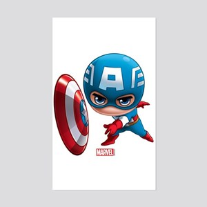 Chibi Captain America Stylized Sticker (Rectangle)