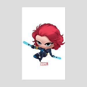 Chibi Black Widow Stylized 2 Sticker (Rectangle)