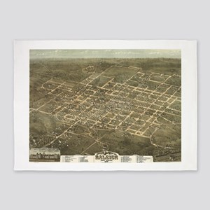 Vintage Pictorial Map of Raleigh NC 5'x7'Area Rug