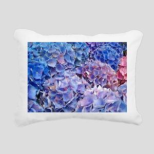 Blue Hydrangeas Flowers Rectangular Canvas Pillow