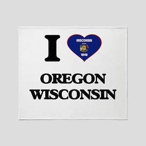I love Oregon Wisconsin Throw Blanket