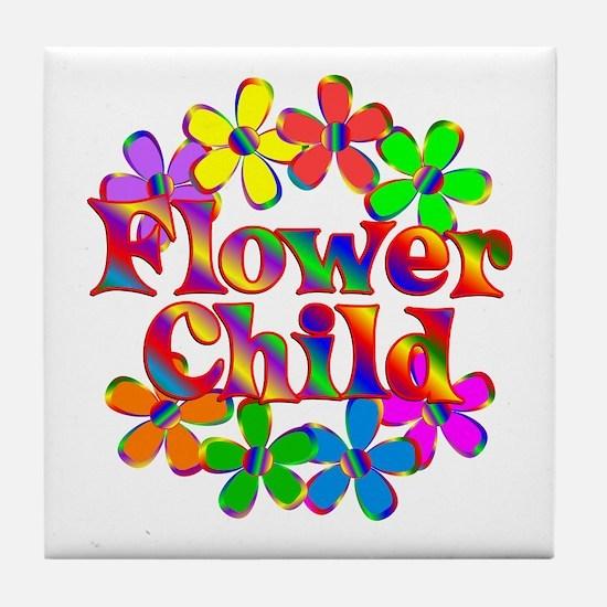 Retro Flower Child Tile Coaster
