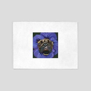 Pug Pansy Dog Art 5'x7'Area Rug