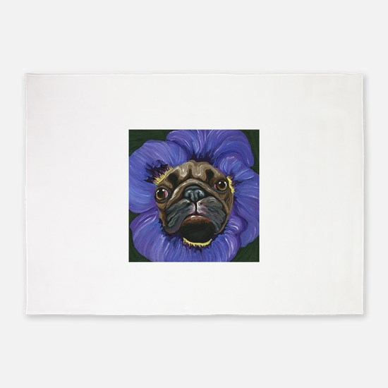 Pug Pansy Dog Art 5'x7'Area Rug
