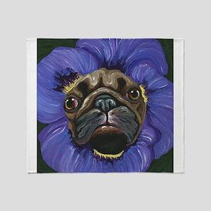 Pug Pansy Dog Art Throw Blanket