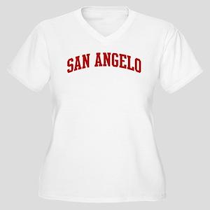 SAN ANGELO (red) Women's Plus Size V-Neck T-Shirt