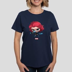 Chibi Black Widow Stylized Women's Dark T-Shirt