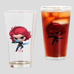 Chibi Black Widow Stylized Drinking Glass