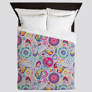 Flowers and Bugs on Acid on Grey Queen Duvet