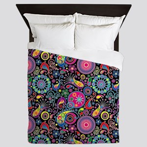 Flowers and Bugs on Acid on Black Queen Duvet
