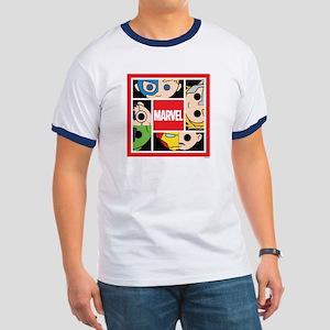 Chibi Avengers Stylized Square Ringer T