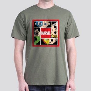 Chibi Avengers Stylized Square Dark T-Shirt