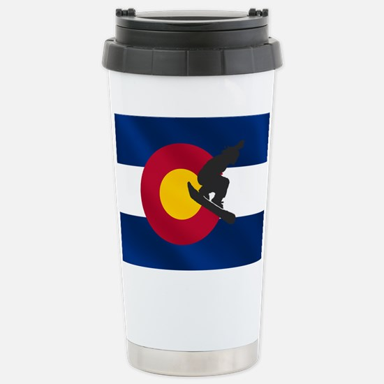Colorado Snowboard Flag Stainless Steel Travel Mug