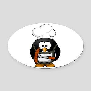 Penguin Grill Oval Car Magnet