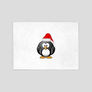Santa Penguin 5'x7'Area Rug
