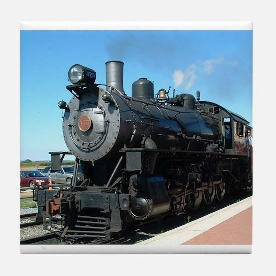 Steam train rolling along Tile Coaster