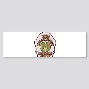 battalion chief FD badge white Bumper Sticker