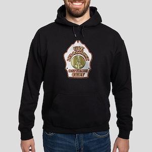 battalion chief FD badge white Hoodie (dark)