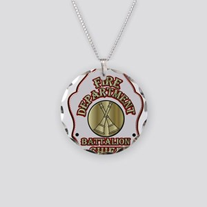 battalion chief FD badge whi Necklace Circle Charm