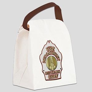 battalion chief FD badge white Canvas Lunch Bag