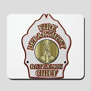 battalion chief FD badge white Mousepad