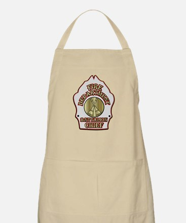 battalion chief FD badge white Apron