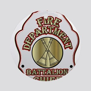 battalion chief FD badge white Ornament (Round)