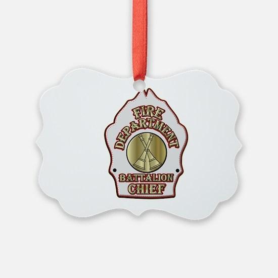 battalion chief FD badge white Ornament