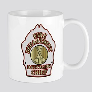 battalion chief FD badge white Mugs