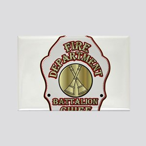 battalion chief FD badge white Magnets