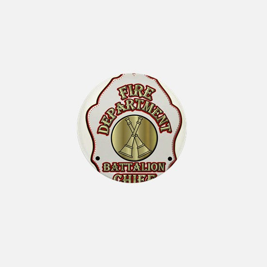 battalion chief FD badge whi Mini Button (10 pack)