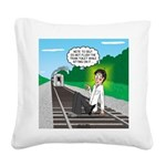 Train Toilet Square Canvas Pillow