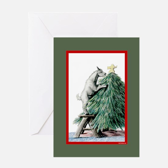 Goat Christmas Pygmy in Tree Greeting Card