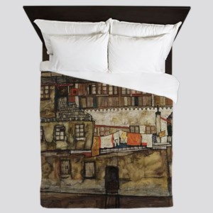 House Wall on the River by Egon Schiel Queen Duvet